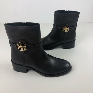 Tory Burch Miller 45mm Medallion Leather Ankle Booties 7M Chocolate & Gold $398